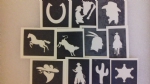 Cowboy & Indian themed stencils for glitter tattoos / airbrush tattoos / henna / many other uses  fund raising boys